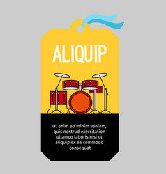 Music tag with drums vector