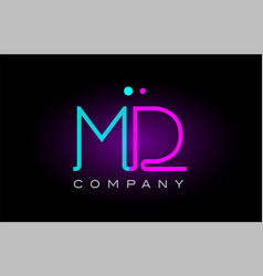 Neon lights alphabet md m d letter logo icon vector