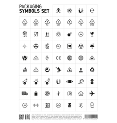 Packaging symbols set icon vector image