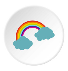 Rainbow and clouds icon circle vector