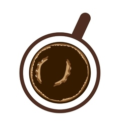 Realistic coffee cup top view drink icon vector