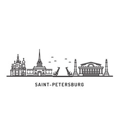 Saint petersburg skyline architectural landmarks vector