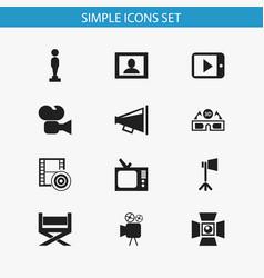Set of 12 editable movie icons includes symbols vector