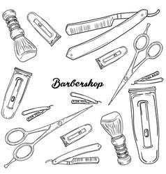 set of vintage barbershop elements vector image vector image