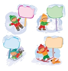 Set winter icons with little children vector
