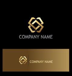 Shape geometry technology gold logo vector