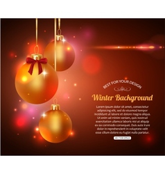 Shining Christmas background with golden balls and vector image vector image