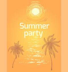 summer beach party background with sunset vector image vector image