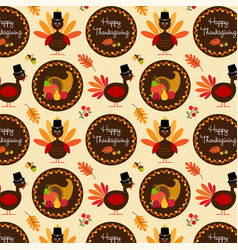 Thanksgiving pattern with turkeys vector