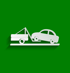 Tow truck sign paper whitish icon with vector