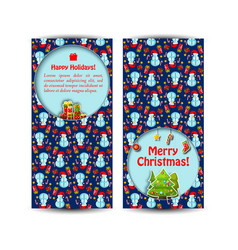two snowman banner set vector image vector image