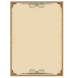 Vintage background on old paper with ornate frame vector image vector image
