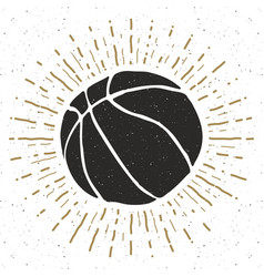 vintage label hand drawn basketball ball sketch vector image vector image