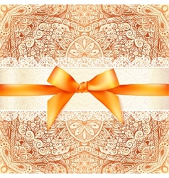 Vintage wedding card template with orange bow vector image