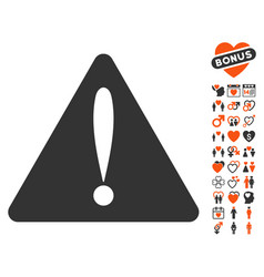 Warning error icon with dating bonus vector