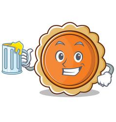 with juice pumpkin pie character cartoon vector image