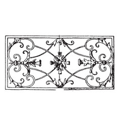 Wrought-iron oblong panel is a 17th century vector