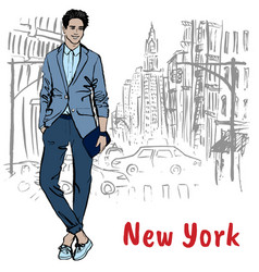 Young man in new york vector