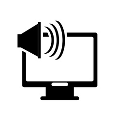 computer monitor and speaker icon vector image
