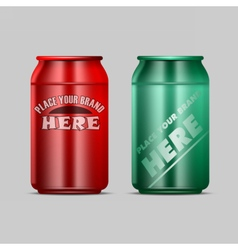 Red and green aluminium beverage drink vector