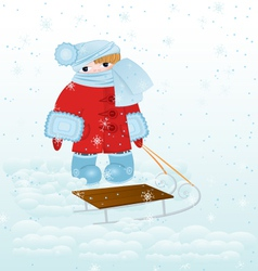 Cartoon kid with snow vector