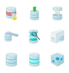 Data icons set cartoon style vector