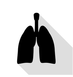Human organs lungs sign black icon with flat vector