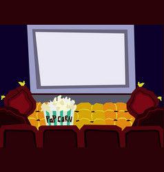 Cartoon flat cinema hall interior vector