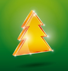 Golden fir 3 d on a green background new year vector
