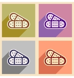 Icons of assembly medical plaster in flat style vector