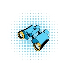 Black binoculars comics icon vector