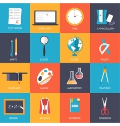 Back to school education art icons flat vector