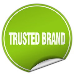 Trusted brand round green sticker isolated on vector