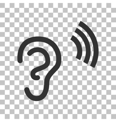 Human ear sign dark gray icon on transparent vector