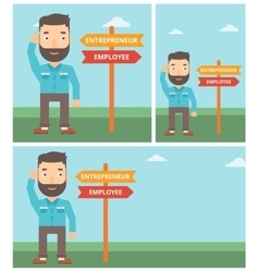 Confused man choosing career pathway vector