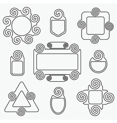 black retro line spiral icons design elements set vector image vector image