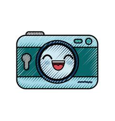 Camera cartoon smiley vector