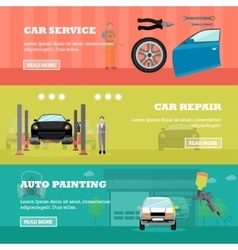 Car repair shop concept banners auto vector