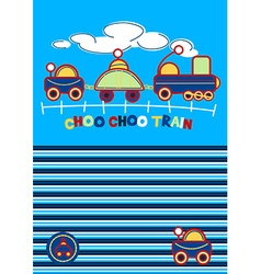 Choo choo train embroidery with matching stripe vector