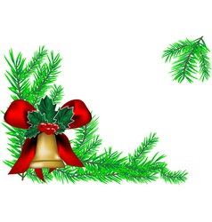 christmas bell and new year tree vector image