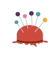 Color silhouette with pincushion with pins icon vector