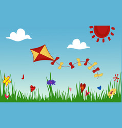 colored kite flies on background of spring sunny vector image