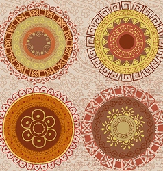 Colored mandalas drawn by hand vector image vector image