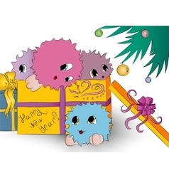 Four cute colorful monsters in gift box christmas vector