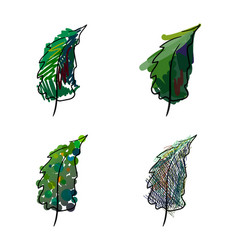 Four stylized hand-painted spruce vector