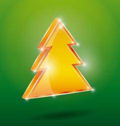 Golden fir 3 d on a green background new year vector