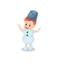 happy little boy in the costume of snowman kid in vector image