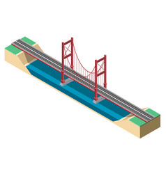 large isometric suspension bridge vector image