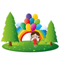 little girl holding colorful balloons in park vector image