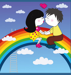 Loving couple sitting on a rainbow and kisses vector